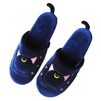 GK-O Anime Sailor Moon Luna Artemis Bowknot Home Indoor Plush Soft Warm Slippers Cosplay Costume (Blue) | Slippers