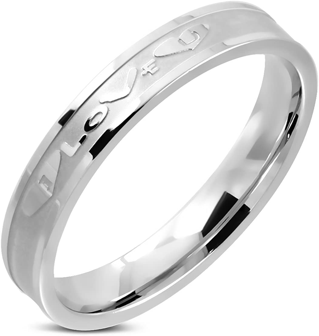 Stainless Steel Heart Love Monogram Comfort Fit Wedding Flat Band Ring