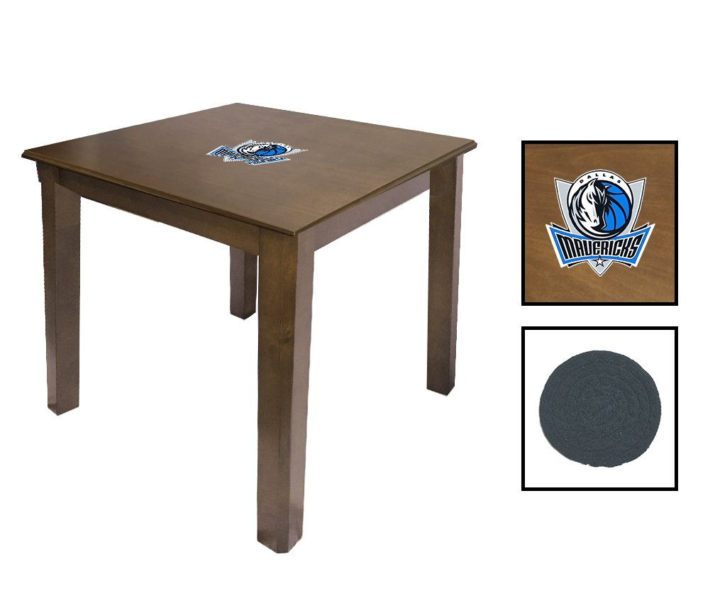 Walnut Finish End Table Featuring the Choice of Your Favorite Sports Theme Logo - FREE Coaster Included! (Mavericks)
