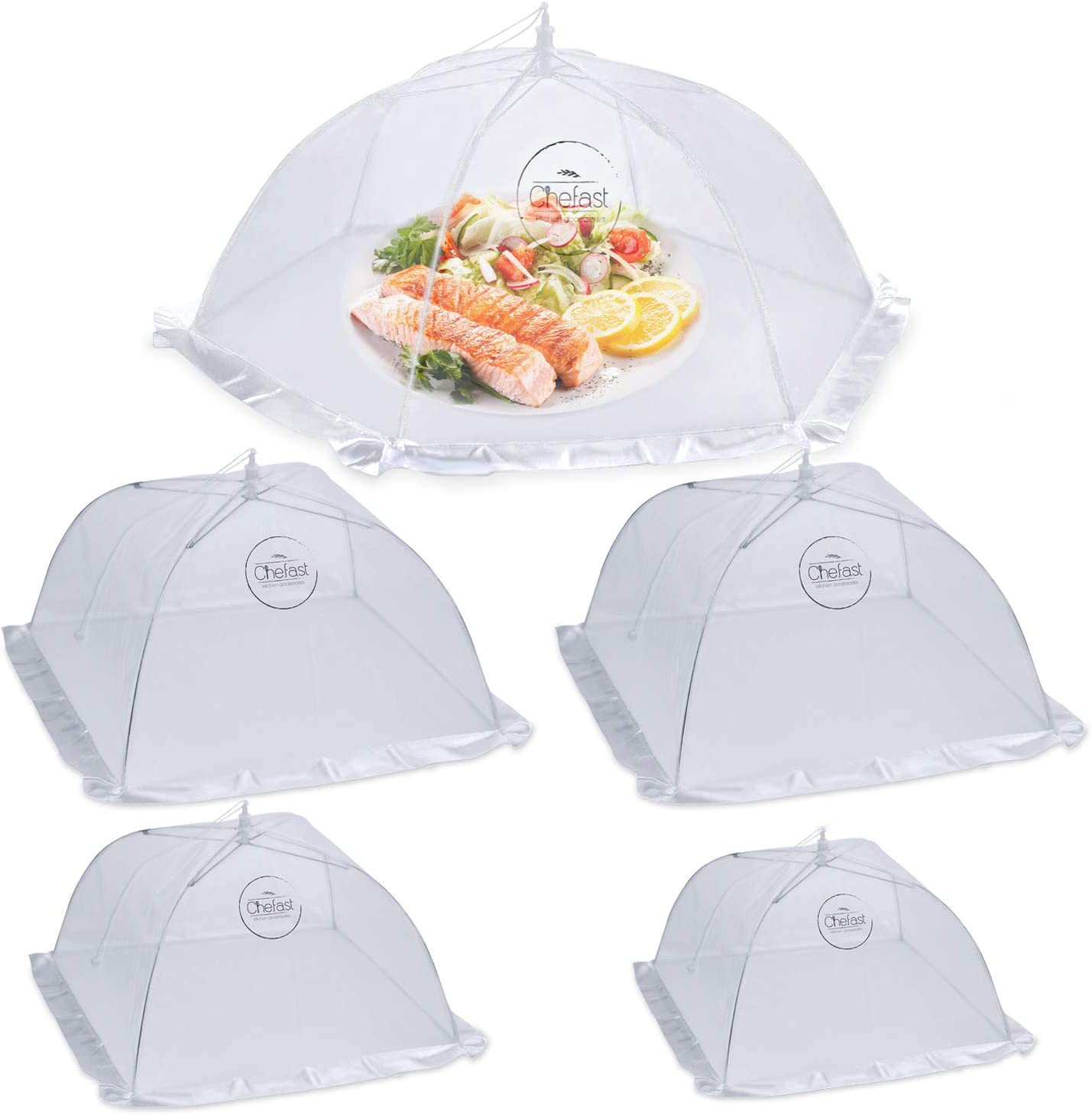 Chefast Food Cover Tent (5 Packs) - Pop Up Mesh Covers in 4 Sizes with Reusable Carry Bag - Protect Foods from Fruit Flies - Great for Picnics, and Outdoor BBQ