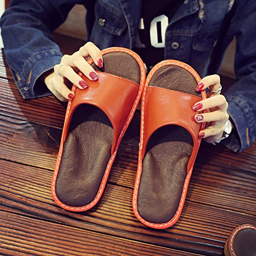 fankou Slippers Female Summer Home Home Interior Wooden Floor Men's Silent Couples Air Cool Slippers,39-40, Orange Red