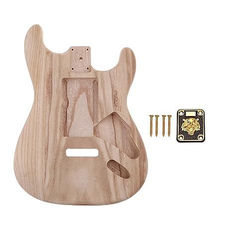 SM SunniMix Guitarras Eléctricas De Bricolaje Cuerpo En Blanco Material De Barril + Tornillos De Placa