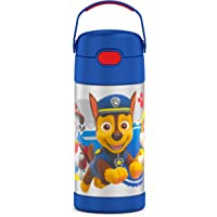 THERMOS FUNTAINER 12 Ounce Stainless Steel Vacuum Insulated Kids Straw Bottle, Blue Paw Patrol