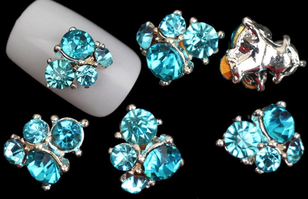 Joyeee 10-Piece 3D Nail Art Glitter Decorations Alloy Rhinestone Wheel Mix Design Nail DIY Decor Accessories #3