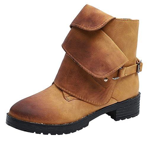 Logobeing Botines para Mujer Botines con Brocha de Cuero Caballero para Mujer Botas Martin Botines Piel Mujer Bajo Tobillo Zapatos de Vaquero: Amazon.es: ...