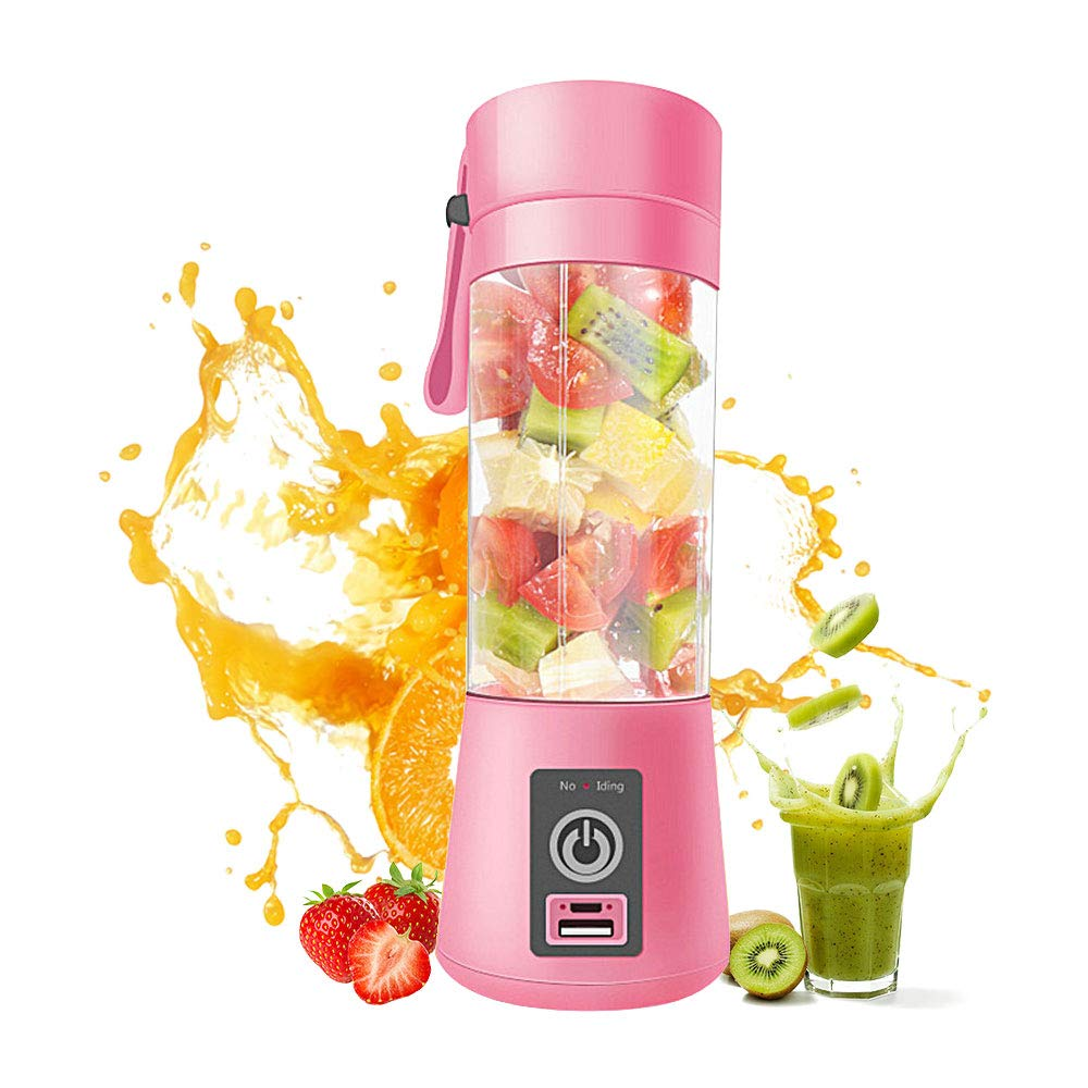 KOBWA Juicer Cup, Multifunctional Portable Mini Juicer Cup with USB Charging Cable Smoothie Maker Fruit Mixer for Home Office Travel and Outdoors