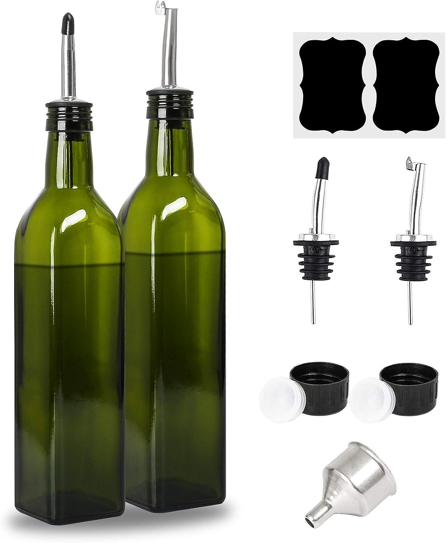 [2 Pack] Olive Oil Dispenser Bottle Set, 17oz/500ml Glass Oil & Vinegar Cruet with 4 Pourers, 2 Caps, Funnel and Labels - Olive Oil Glass Container Bottle for Kitchen (Green)