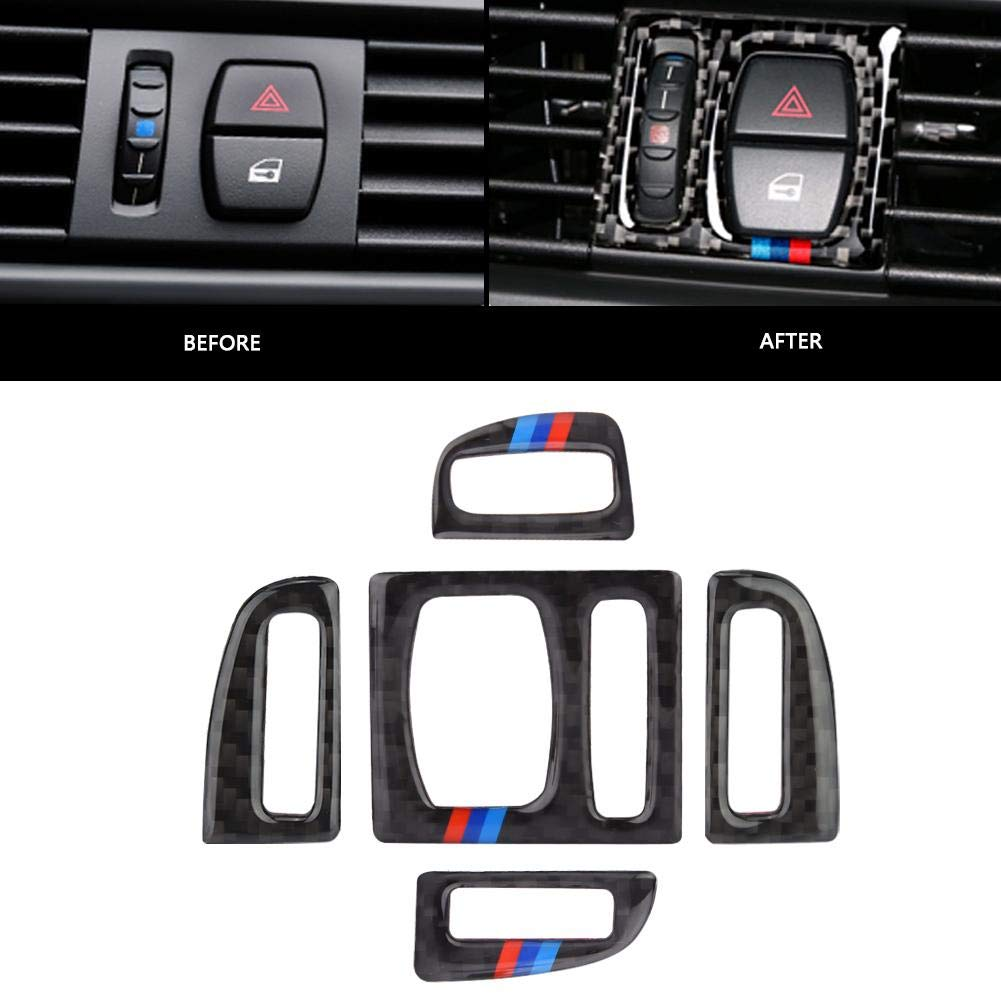 Cuque 5 Pcs Car Air Conditioning Outlet Trim Carbon Fiber Style Interior Set of Auto Air Conditioning Outlet Sticker for F10 20112012 2013 2014 2015 2016 2017 #2