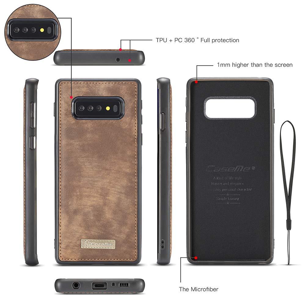 GODTOOK pour Samsung Galaxy S10 Coque Etui en Cuir pour Affaires Multifonction Flip Case Peinture en Cuir PU avec et Rangement Carte de Cr/édit Slot Rouge