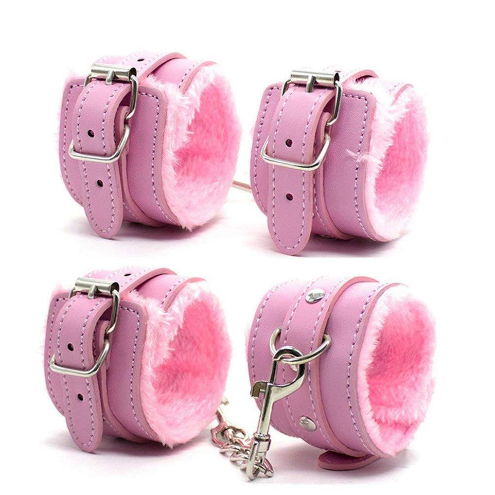 Kanasi Adjustable PU Leather Handcuffs Set (Pink) by Kanasi