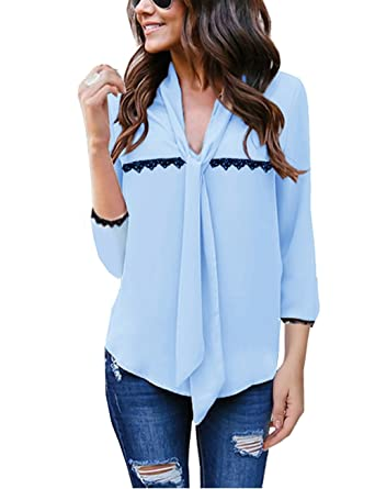 Quceyu Damen Bluse Chiffon Elegant V-Ausschnitt Langarm Oberteile Fliege Mode  Hemd Asymmetrisch (X 6f19d9630c