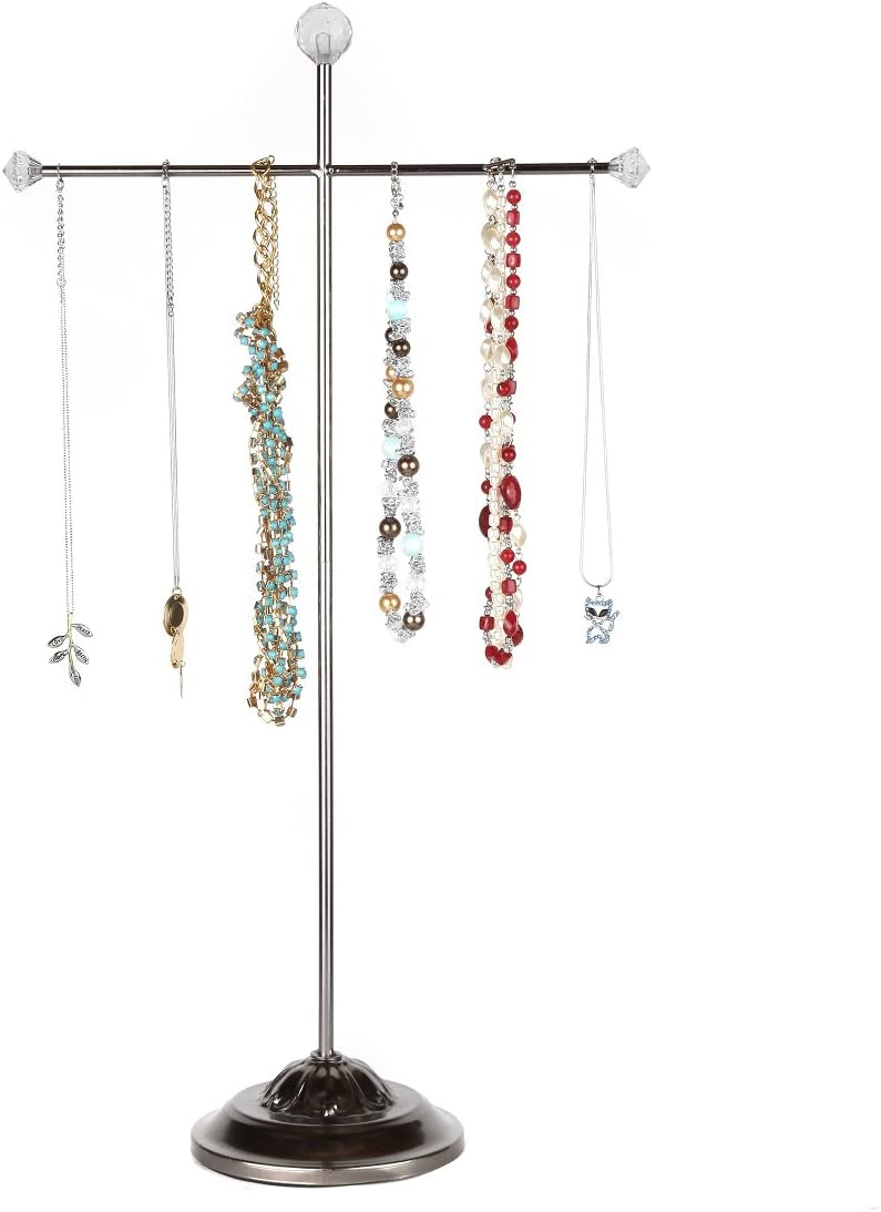 Home-X - Metal Jewelry Tree Hanger & Organizer, Tall Tabletop Necklace Holder & Jewelry Display Stand Stores Your Jewelry for Convenient Access, Elegant Design Fits Any Decor