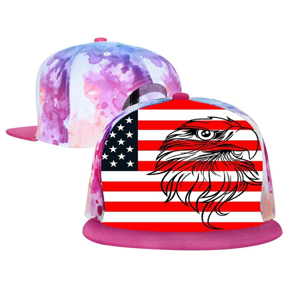 PASPTTO American Flag Eagle Hip Hop Hat Mens Fashion Full Frame 3D Print Adjustable Truck Driver Baseball Cap