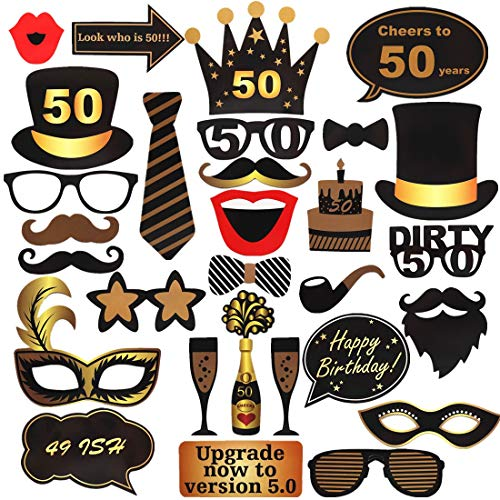 ToParty 50th Birthday Photo Booth Props for Black & Gold 50th Birthday Party Decorations