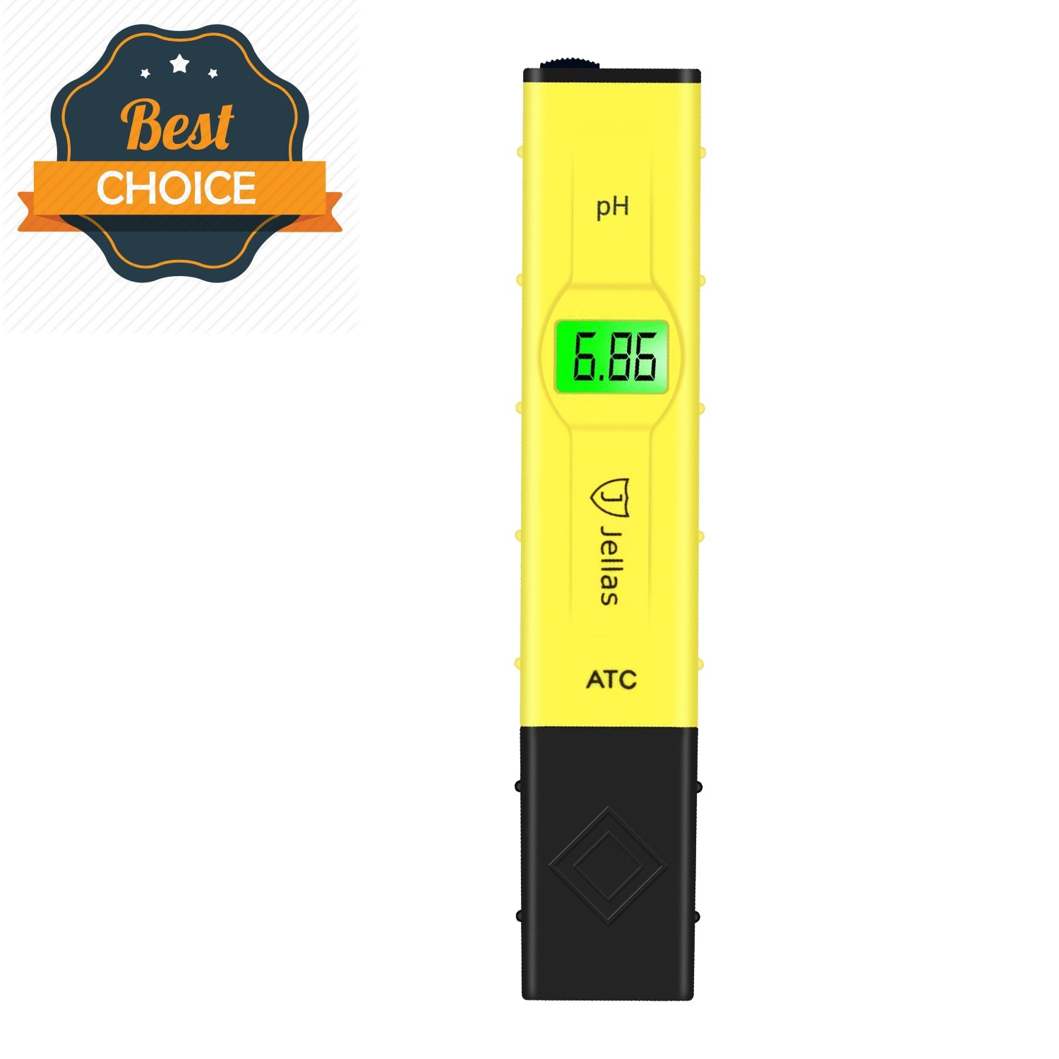 Digital pH meter tester - Jellas 0.01 High Accuracy Water Quality Tester for Household Drinking Water Swimming Pools Aquariums Hydroponics 0-14 pH Measurement (Yellow - pH Tester with ATC)