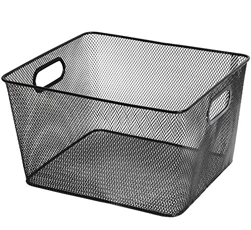 Ybm Home Household Wire Mesh Open Bin Shelf Storage Basket Organizer Black For Kitchen Pantry, Cabinet, Fruits, Vegetables, Pantry Items Toys 1041s (1, 10 x 9 x 6)