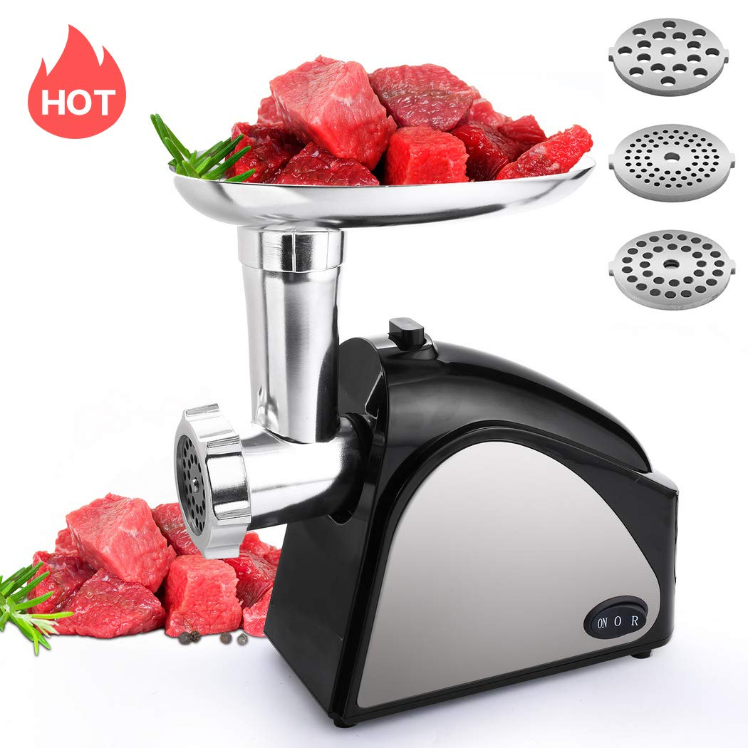 Homdox Electric Meat Grinder, 2000W Meat Mincer with 3 Grinding Plates and Sausage Stuffing Tubes for Home Use &Commercial, Stainless Steel, Dishwasher safe (2000W Max) by Homdox