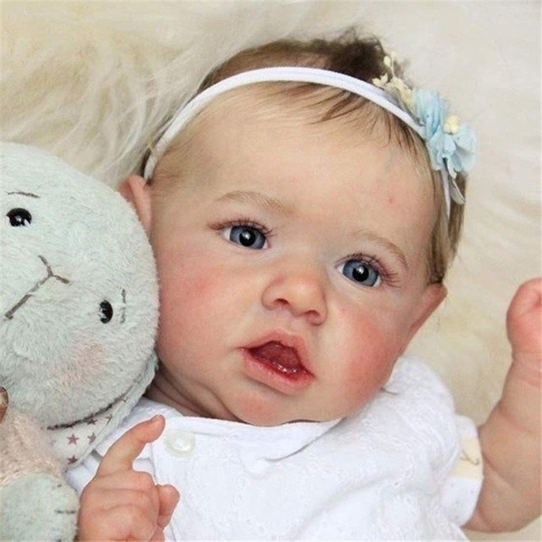 FLJUN 23 Pulgadas 58 Centímetros Realista Saskia Muñecas Reborn Chica De Ojos Grises Muñeca Recién Nacida Silicona Completa Suave Natural Nutrir Muñecas Ligero Lavable Muñeca Juguetes para Niños