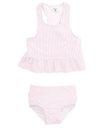 8fc671e83d Amazon.com: RuffleButts Little Girls Cropped Peplum Tankini 2 Piece ...