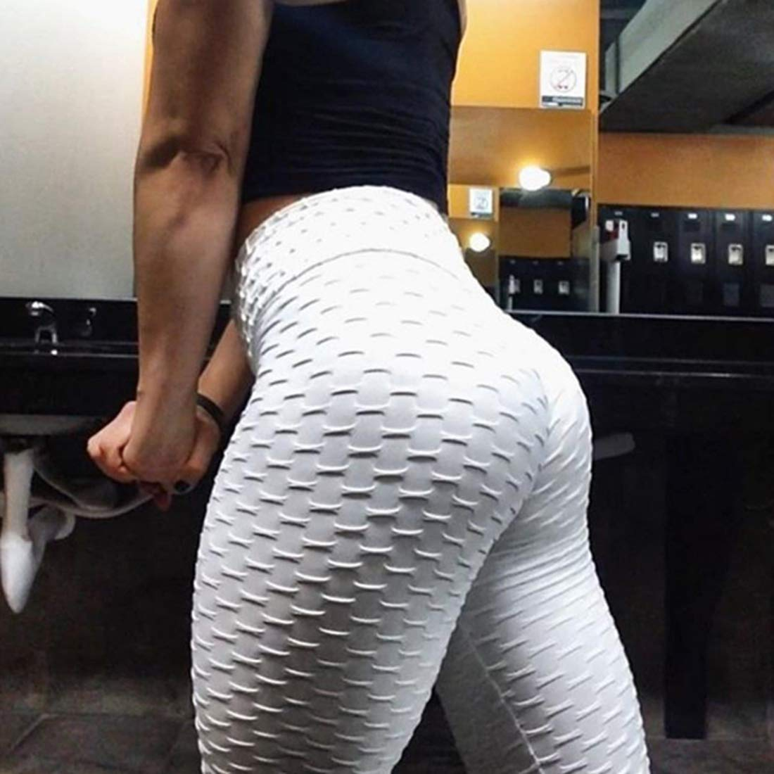 Womens High Waist Yoga Pants Tummy Control Butt Lift Leggings Textured Workout Ruched Sports Stretchy Slimming Tights