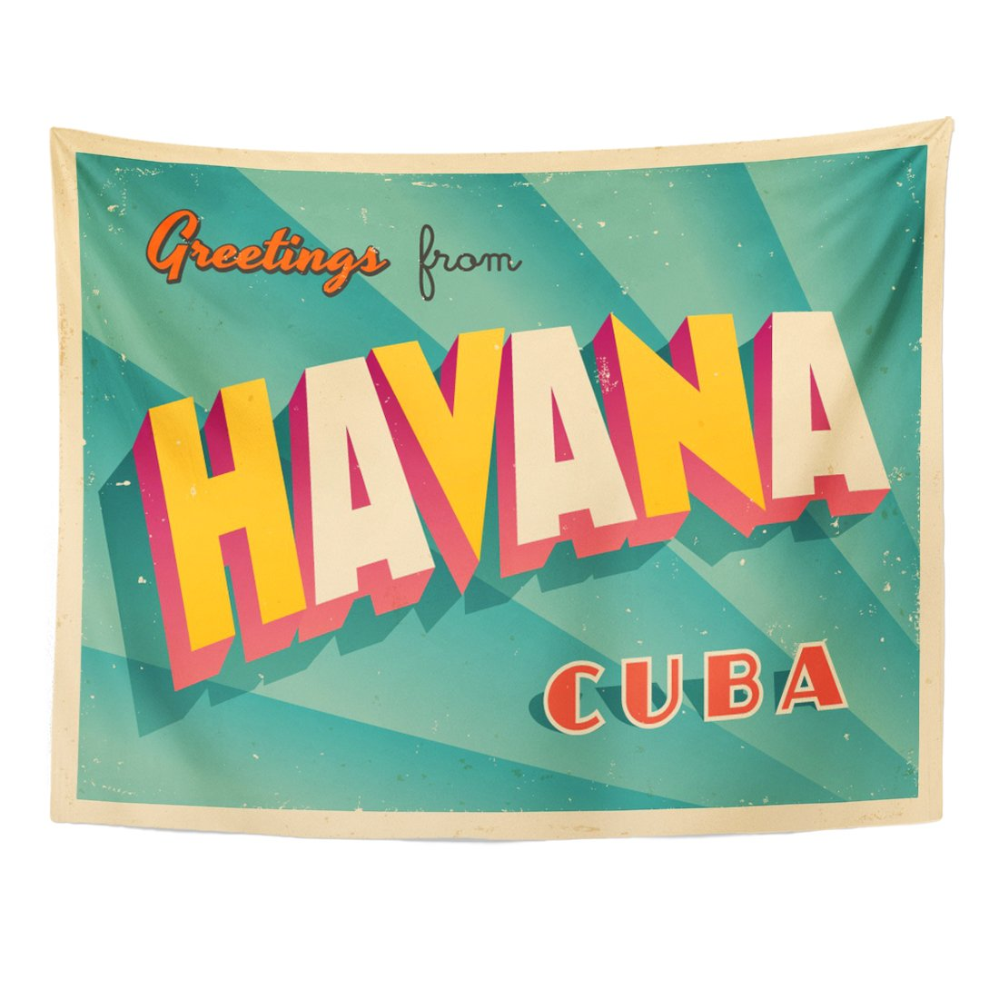 Emvency Tapestry Vintage Touristic Havana Cuba Effects Can Be Easily Removed Home Decor Wall Hanging for Living Room Bedroom Dorm 60x80 Inches