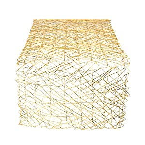 DII Woven Paper Decorative Metallic Table Runner for Holidays, Occasions, and Everyday Décor, 14x72, Gold