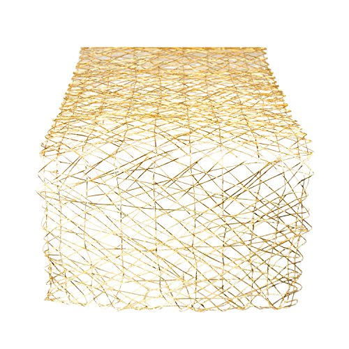 DII Woven Paper Decorative Metallic Table Runner for Holidays, Parties, and Everyday Décor (14x72) Gold