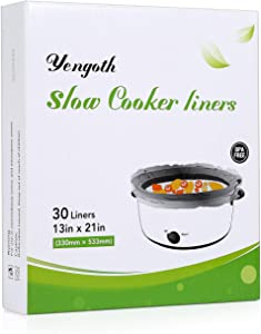 Yengoth Slow Cooker Liners, Easy To Clean Disposable Cooking Bags, 13 x 21 Inches, Fit 3QT to 8QT, 1 pack (30 Liners), for Pans, Slow Cooker, Crockpot, Aluminum Cooking Trays,BPA Free