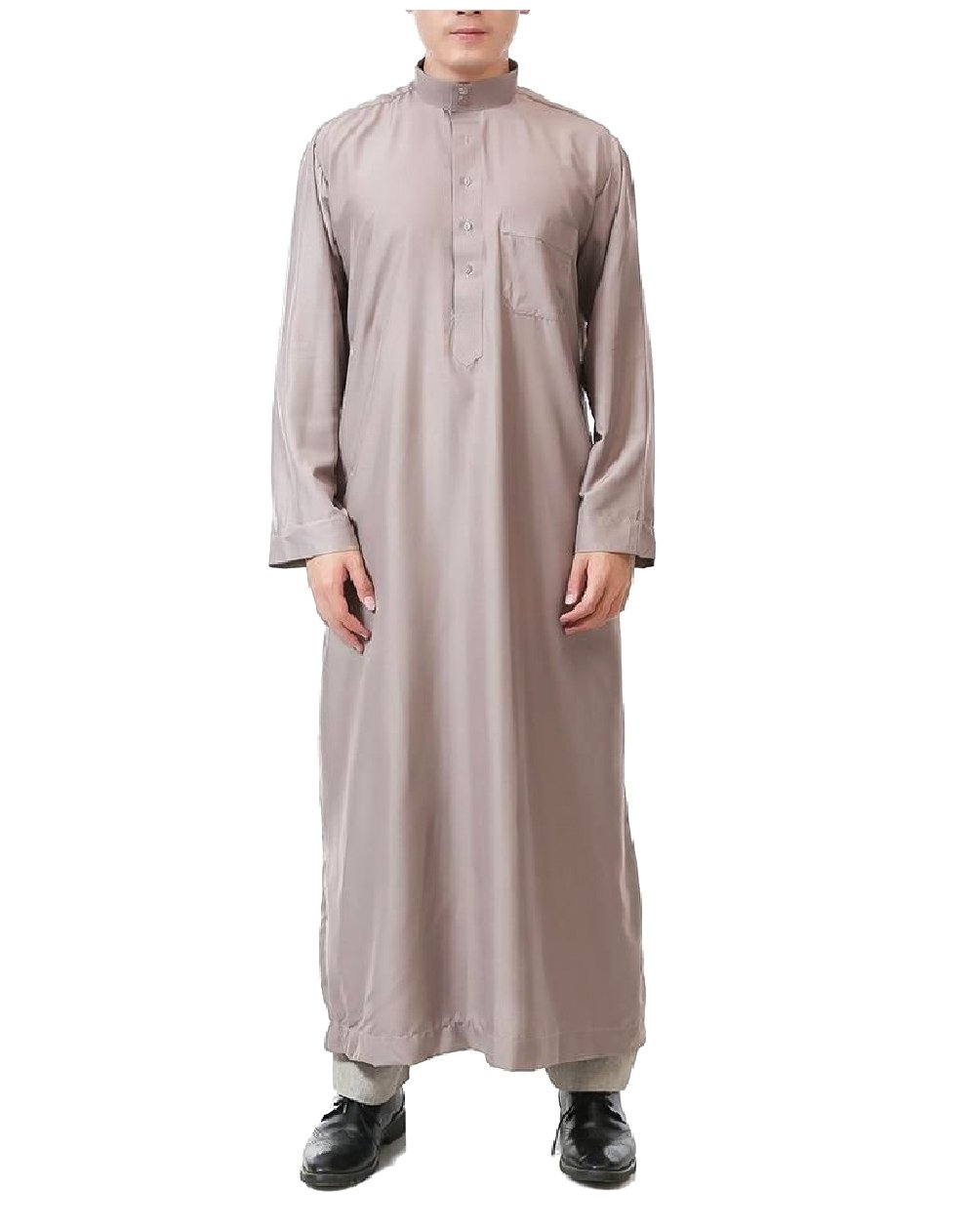 Zimaes Men Middle East Button-Up Stand Collar Long-Sleeve Muslim Thobe Khaki 60