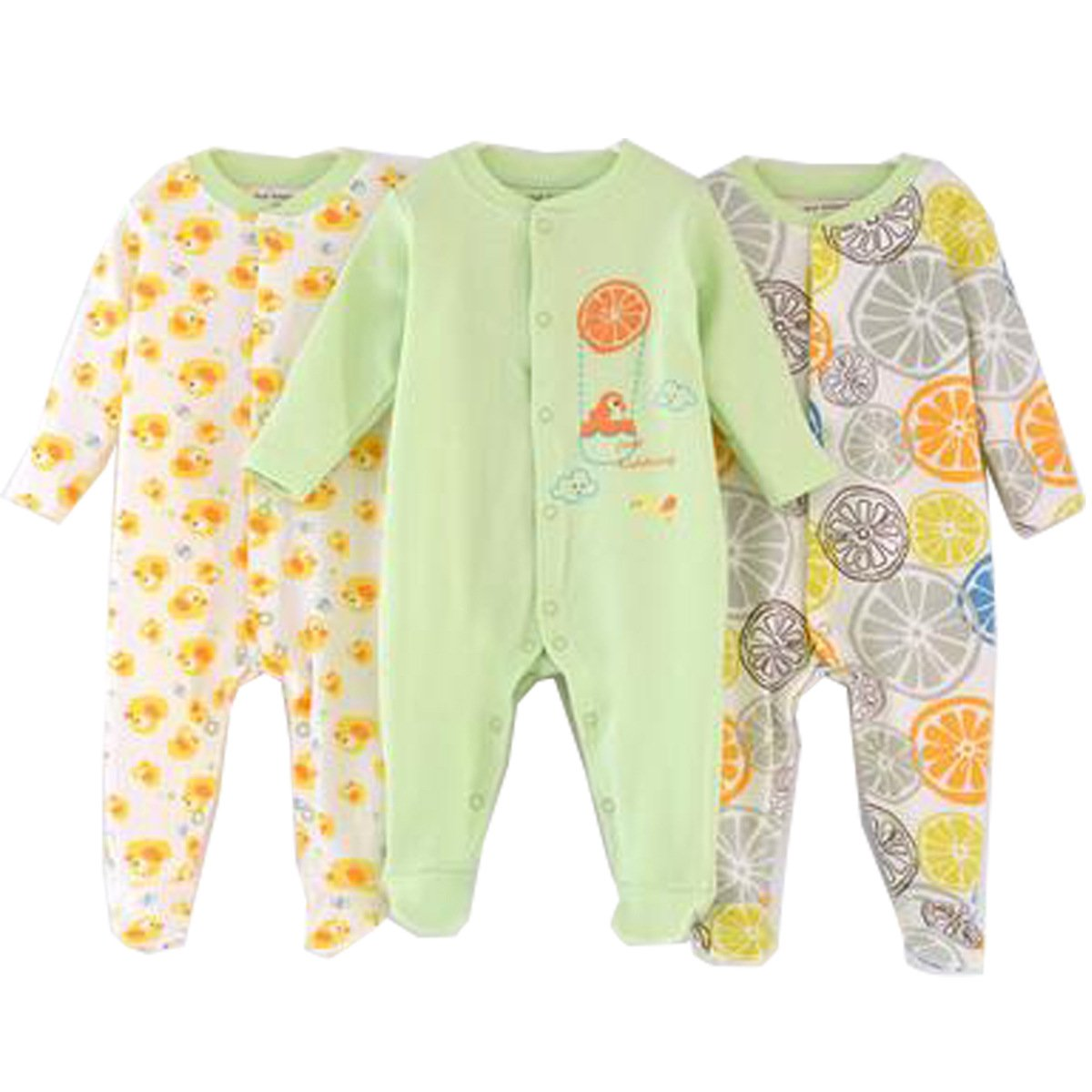 Unisex-Baby Footed Pajamas Sleeper 0-6 Months - 3 Packs Infant Cotton Long Sleeve Jumpsuit Newborn Romper Bodysuit