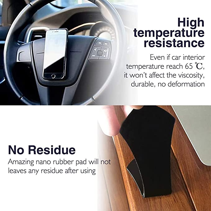 Multifunctional Nano Pad Mobile Phone Stand Instrument Panel Anti-Skid Pad GPS Car Mobile Phone Tablet Glass Wall Mirror Glass Kitchen Office Cabinet Nano Rubber Mat Reusable Folding Pad 4 Pack
