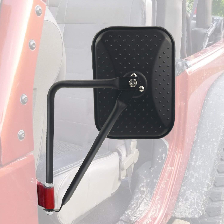 Black Diamond Rectangular Off Road Barricade Adventure Mirrors, Door Off Side Rear View Mirror for 1997-2017 Jeep Wrangler JK JKU CJ YJ, 2018 JL- Pack of 2