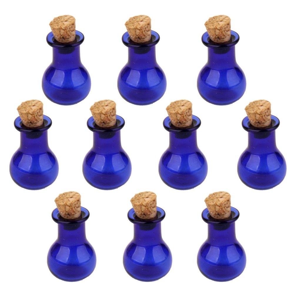 10Stk. Miniglasflasche Glaeser Flaeschchen Flasche Anhaenger Mit Korken Flachbirne Unbekannt STK0113012311