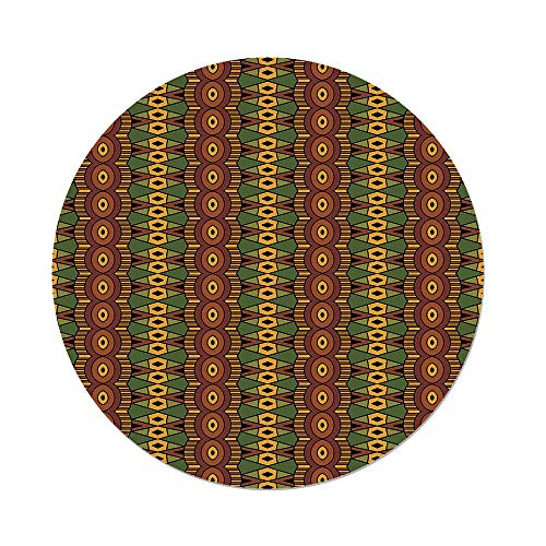 Polyester Round Tablecloth,African,Abstract Tribal Motifs Vertical Ethnic Borders Folkloric Hippie Antique Decorative,Green Brown Yellow,Dining Room Kitchen Picnic Table Cloth Cover,for Outdoor Indoo -