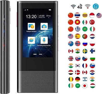 WIFI Traductor de Voz Inteligente Portátil Dispositivo de Traducción de Idiomas Apoya Tarjeta SIM / 4G Red/Cámara/Grabación de Sonido y 8 Traducción Sin Conexión para Viajes: Amazon.es: Oficina y papelería