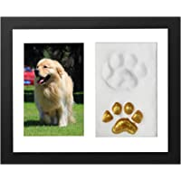 ONE WALL Pet Memorial Picture Frame with Clay Kit for Paw Print Black & Brown