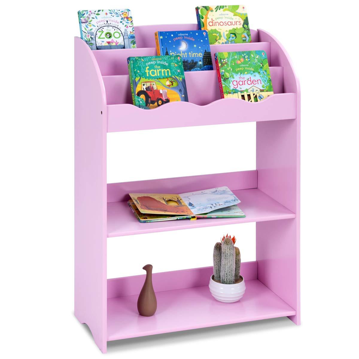 Costzon Wooden 3- Tiers Kids Bookshelf, 3 Tiers Bookcase & 2 Tiers Toy Organizer Magazine Storage Rack for Kids, Bedroom Playroom (Pink)
