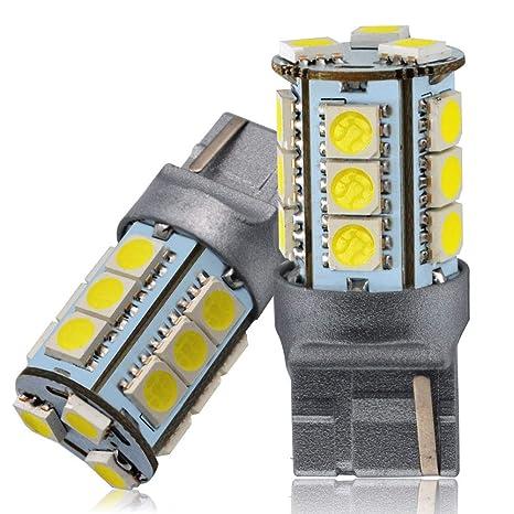 LncBoc 7440 7440NA 992 T20 5050 Chipsets 18-SMD Bombillas LED Con Lente Proyector Xenón blanco 6000K 12V Paquete de 2