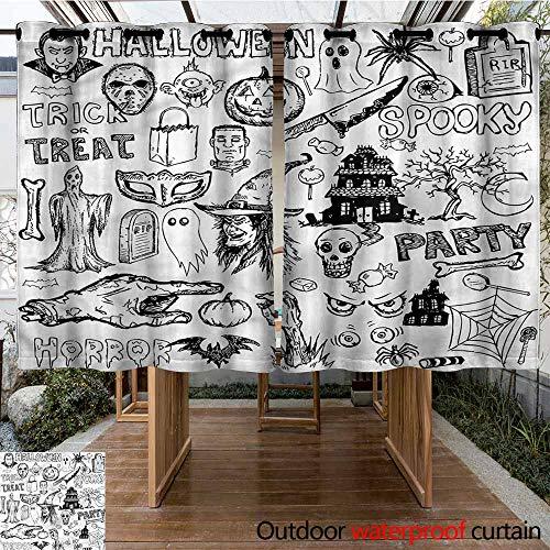 Sunnyhome Grommet Outdoor Curtains Vintage Halloween Treat Party Waterproof Patio Door Panel W 55