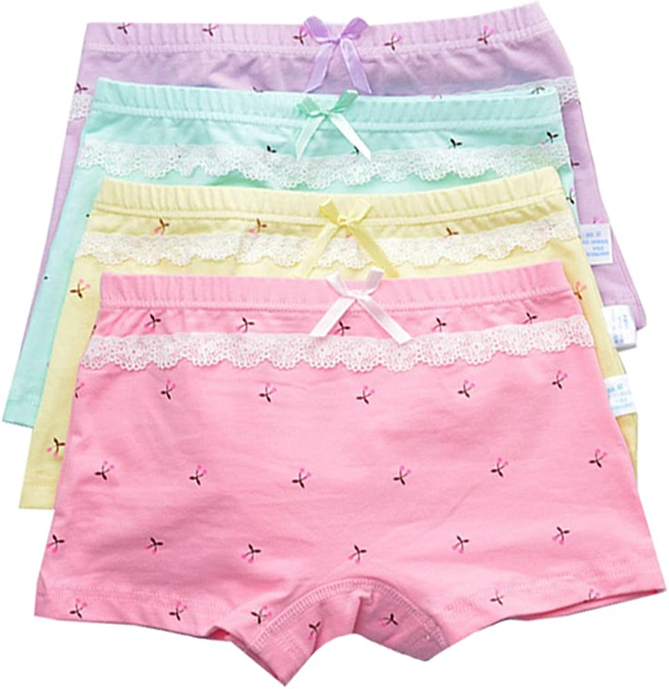 YUMILY Toddler Girls Mini Cherry Print Lace Trim Boyshort Panties Training Underwear,4 Pack