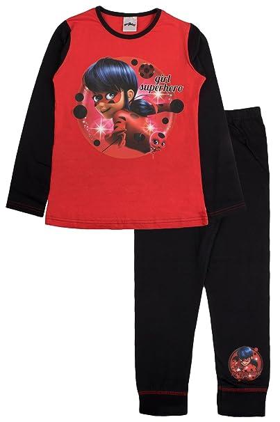 Miraculous - Pijama - Manga Larga - para niña Rojo Ladybug - Girl Superhero 4-