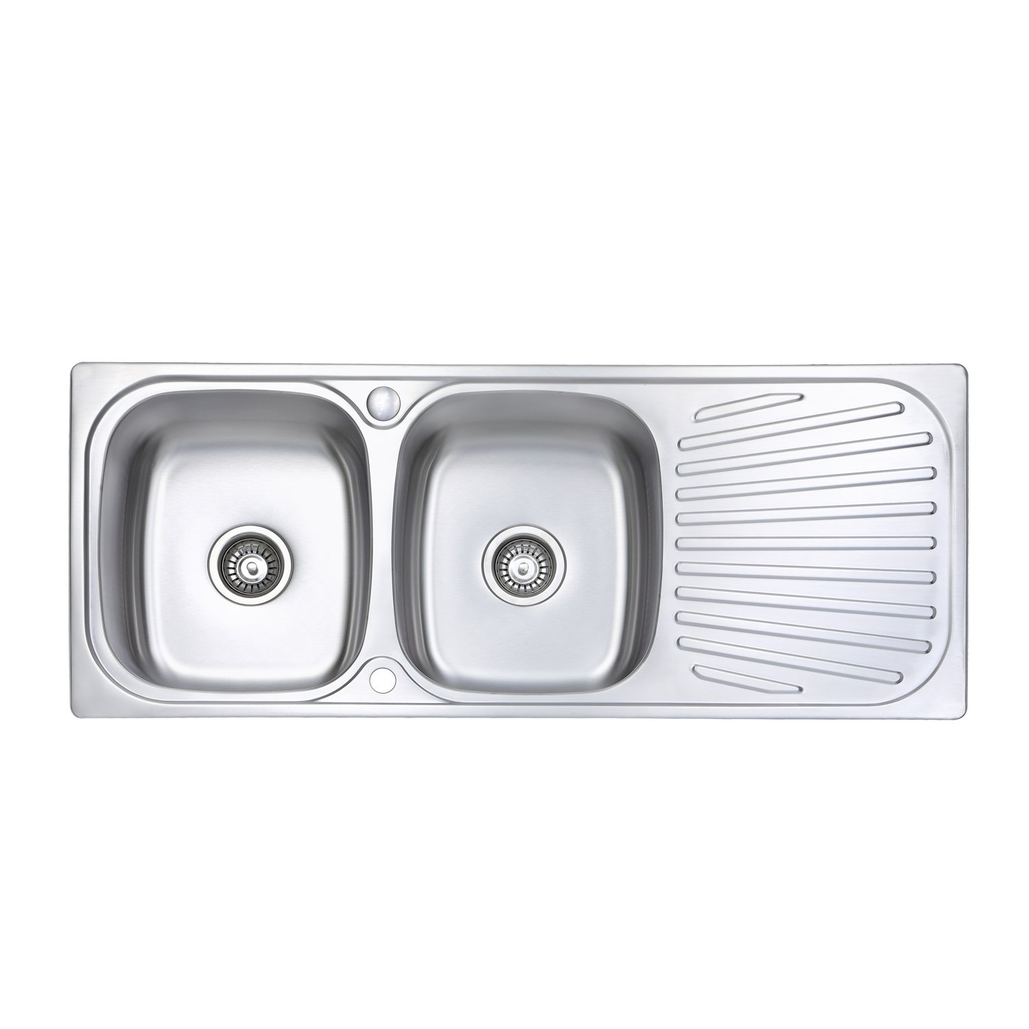 JASS FERRY Stainless Steel Kitchen Sink Welding Style Inset Double Bowl Reversible Drainer & Waste Pipes Clips - 10 Years Warranty