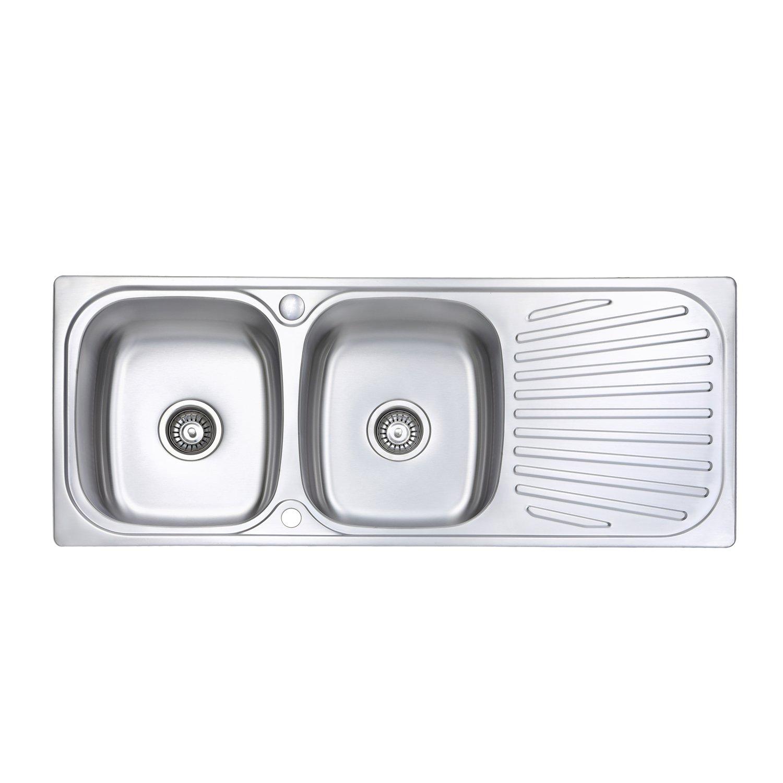Fregadero de cocina Jass Ferry reversible, con escurridor, incluye tuberí as de desechos y pinzas de fijació n incluye tuberías de desechos y pinzas de fijación