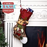 Scheam Classic Christmas Stockings 3D Plush Applique Style with Faux Fur Cuff Christmas Decorations and Party Accessory (Reindeer)