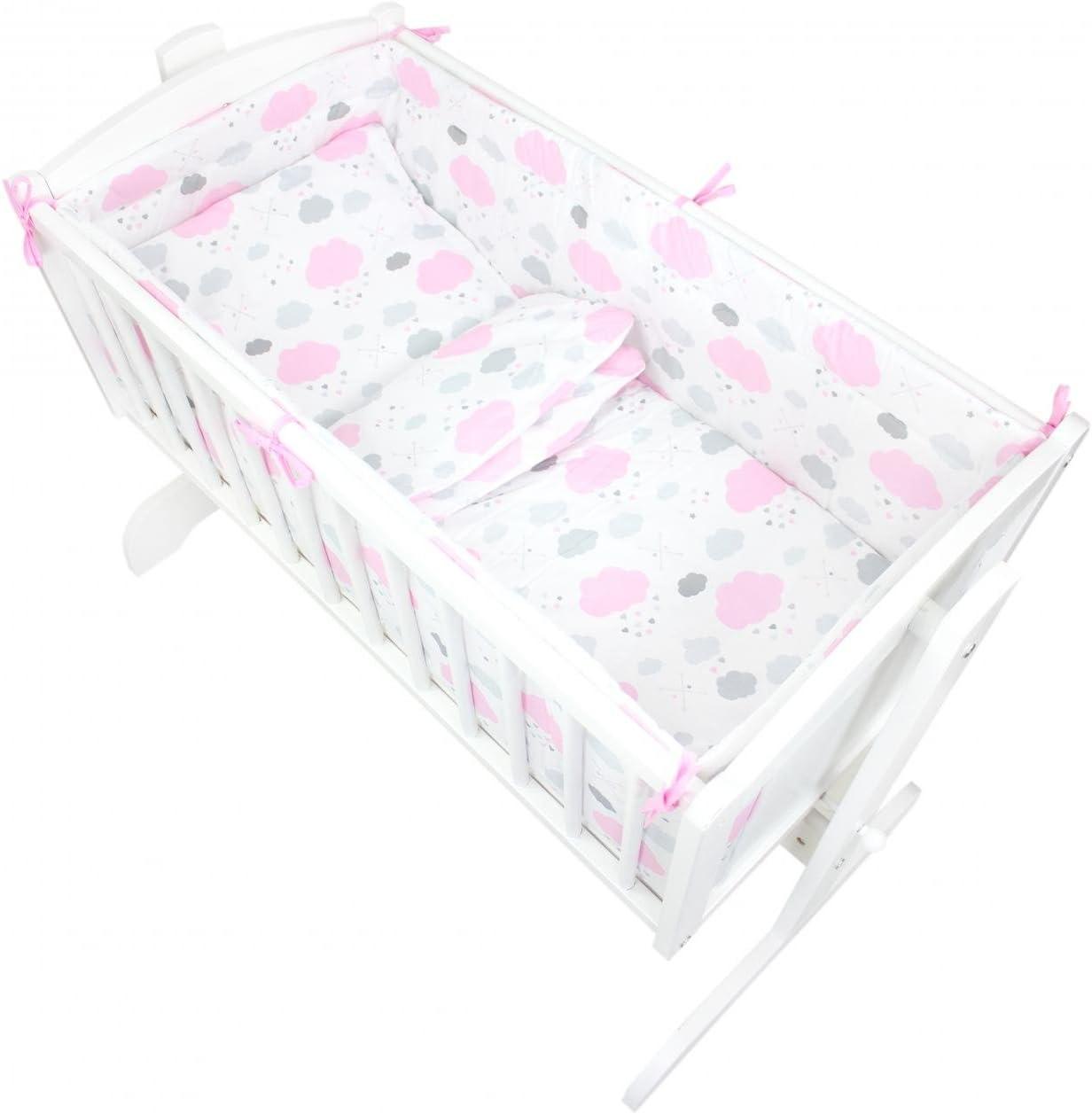 Anzahl der Teile:: 6 TLG Set Farbe: Tupfen-Sterne Grau TupTam Unisex Baby Wiegen-Bettw/äsche-Set 6-TLG