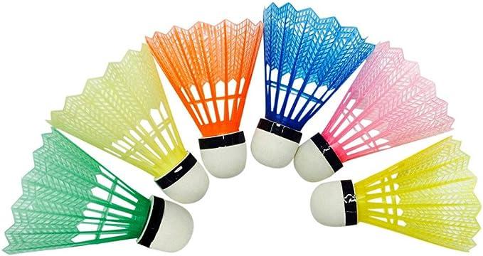 HUYURI 6 pcs Training Exercise Nylon Shuttlecocks Badminton Ball Game Sport Multicolor