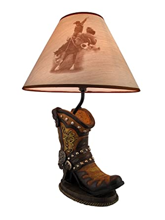 Western Cowboy Boot Table Lamp W/ Bronc Rider Print Shade