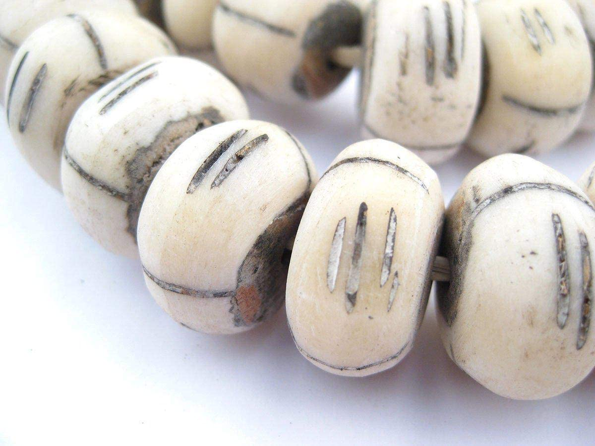 African Faceted White Bone Beads Large Kenya Bone Beads Tribal Ethnic Jewelry supplies SKU-AB-21