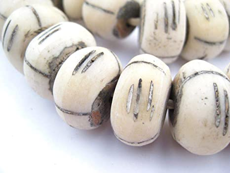Amazon Com Carved White Bone Beads Full Strand Of Fair Trade Artisanal African Beads The Bead Chest Tribal Arts Crafts Sewing