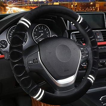 "15/""//38cm Auto Car Steering Wheel Cover Warm Plush Cover Black for Winter"
